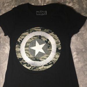 Marvel long black shield tee